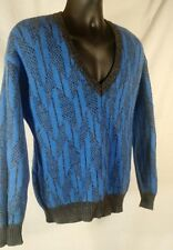 Vtg Men M Uniyed Colors Benneton Wool Sweater Vest V-Neck Jumper Italy UCOB Blue