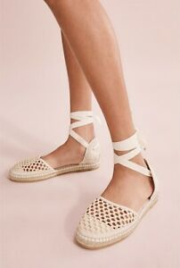 NEW Country Road Cream Rita Flat Espadrilles Shoes Size 35 Crochet Tie Womens