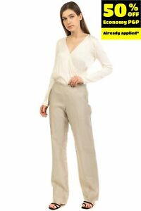Tailored Trousers Size IT 46 / L Linen Blend Flat Front Zip Fly Straight Leg