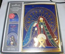 12 Christmas Cards & Envelopes Hallmark Hangable Nativity Religious Manger Jesus