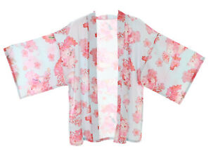 KJ-10-1 Blau Tempel-Katze Cat Sakura Haori Über-Jacke Geisha Kimono Yukata