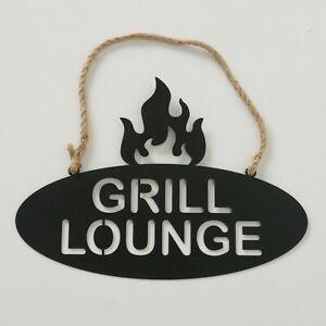 """Metallschild """"Grill Lounge"""" Bar Barbecue Grillen Schild Eisen ausgestanzt"""