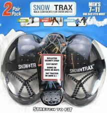SNOW TRAX 2 pair Men's Ice Traction Cleats Shoes Boots Spikes 7-11 Adjustable