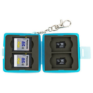 JJC 64*64*26mm Memory Card Case Mini Holder w/ Lock&Ring fits 4 SD + 4 MSD Cards