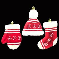 Red White Christmas 3 Pack Large Hanging Tree Decorations - Hat Glove Stocking