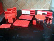 vintage red plastic dolls house furniture sideboards bed dressers table