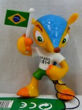 NEW 2014 FIFA Soccer World Cup Brazil Official Mascot Fuleco Figure Holding Flag