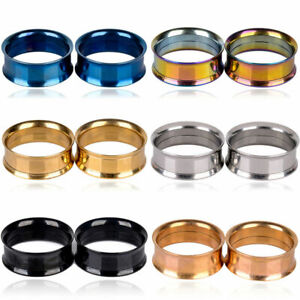 Pair Stainless Steel Screw Ear Gauges Flesh Tunnels Plugs Stretchers Expander