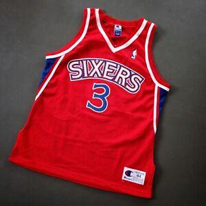 100% Authentic Allen Iverson Vintage Champion Sixers Jersey Size 44 M L Mens