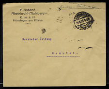1923 Honningen Germany Inflation cover to Neuwieder Zeitung 20000 RM