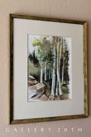 MID CENTURY MODERN ORIG. WATERCOLOR PAINTING! MODERNIST 60'S RETRO ART EAMES VTG