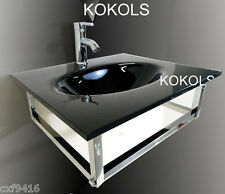 bathroom vanity furniture black tempered glass bowl vessel sink faucet 31