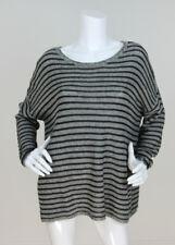 Eileen Fisher Sz L Wool/Linen Striped Slub Knit Long Sleeve Tunic Sweater