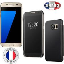 Coque Housse Noir Effet Miroir Transparent pour Samsung Galaxy S7 G930