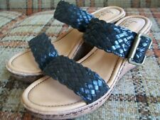 "Born BOC Womens Size 7M Black 2-Woven-Band Wedges (Heels = 3"") C85509"