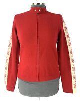 RALPH LAUREN Womens Lambswool Cardigan Sweater Size M Red Full Zip Winter Nordic