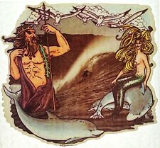 Vintage Surfer With Merman And Mermaid Surf Fantasy Iron On Transfer