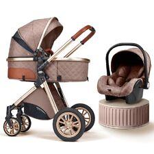 Baby Stroller Carriage Foldable Luxury Pushchair High View Pram Car Seat, Khaki