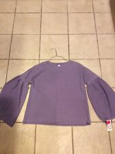 Xhilaration Purple Waffle Weave Thermal Loose Top Shirt Bell Sleeve Size S
