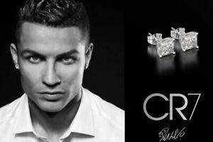 Men's Boy's Ronaldo 5mm - 10mm Choice Square White Gold Plated Diamond Earrings