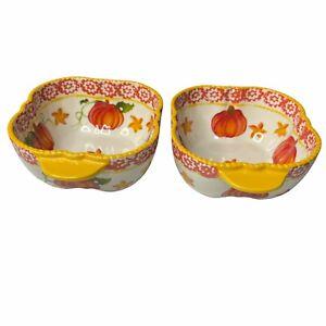 Temptations Pumpkin Patch Soup Bowls Set of 2 Fall 16 Oz Orange