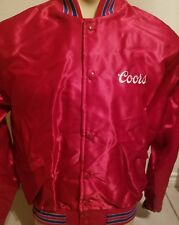 Vintage Windless Coors Beer Snap Button Red Satin Jacket Men's Size Large