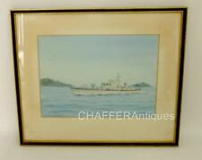 RARE WWII Watercolour of HMS HDML 1386 by Cdr Eric Tufnell RN signed