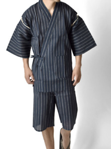 Japanisch Herren Traditionell Kimono Jinbei Sommer Wear Hemd Shorts 35361AR Navy