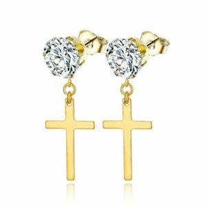 Women Crystal Drop Earrings Cross Dangle Ear Studs Wedding Party Jewellery Gifts