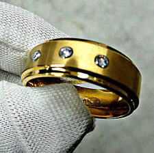 TUNGSTEN CARBIDE Gold Plated Matte Polished RING with Three CZ Accent, size 11