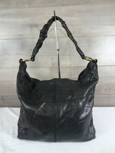 Lucky Brand Black Leather Tote Shoulder Bag Purse Whipstitch