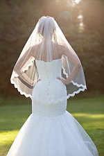 Fingertip Wedding Veils Comb Lace One Layer And Soft Tulle Elbow White Veil New