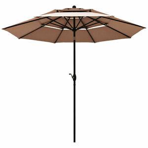 Outdoor Patio Umbrella Aluminum 10ft Tilt Common Beach Garden 3 Tier Vents Crank