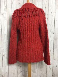 M&S PER UNA Rust Orange Chunky Wool Knit Fringed Cardigan Jacket SMALL 8 10