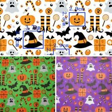 Polycotton Fabric Halloween Spooky Ghosts Witch Hat & Stockings Bat Pumpkin