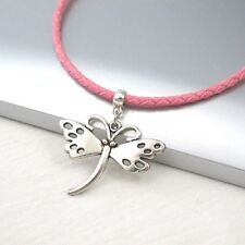 Silver Alloy Butterfly Charm Symbol Pendant 3mm Pink Leather Cord Necklace NEW