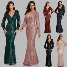 Sexy V-neck Mermaid Evening Dress Long Formal Prom Party Gown Full Sequins Dress