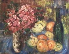 École française XXe 1940 huile nature morte bouquet fleurs fruits Monogramm