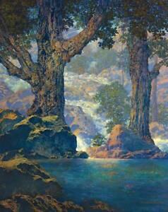 Waterfall Stream Beautiful Blue Water  by Maxfield Parrish
