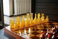 "Vintage Soviet Plastic ""AMBER"" Chess - Wooden Board"
