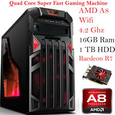 ULTRA Veloce Quad Core 8 GB 1 TB Desktop Gaming PC Computer AMD Radeon R7