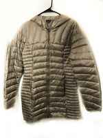 Eddie Bauer Small Astoria Brown Down Jacket Puffer Puffy Long Hip Hood Quilted
