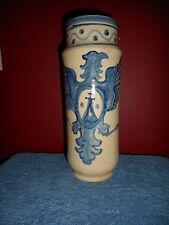 Antique Spanish Pottery Vase PUENTE DEL ARZOBISPO BLUE PHOENIX Spongeware SPAIN