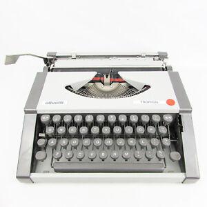 Vintage Working Typewriter Olivetti Tropical retro 1970's White Portable