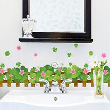 Wall stickers skirting board flooring angular line lucky Clover bathroom Decor