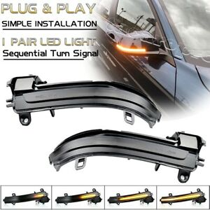 Smoked LED Side Mirror Sequential Turn Signal Light For BMW 1-4 Series X1 i3 E84