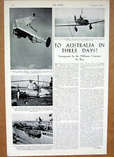 1934 AUSTRALIA In 3 Days ~ The Melbourne Centenary Air Race ~ Aviation Article
