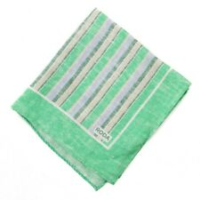NWT RODA Melon Green and Pale Blue Stripe Print Linen Pocket Square