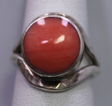 SIZE 6 ~ Vintage Sterling Silver & Polished Pink Stone Hammered TAXCO Ring TA-09