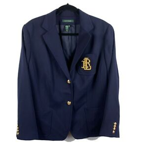 Lauren Ralph Lauren 16W Blazer Navy Logo Golden Emblem/Buttons Fully Lined